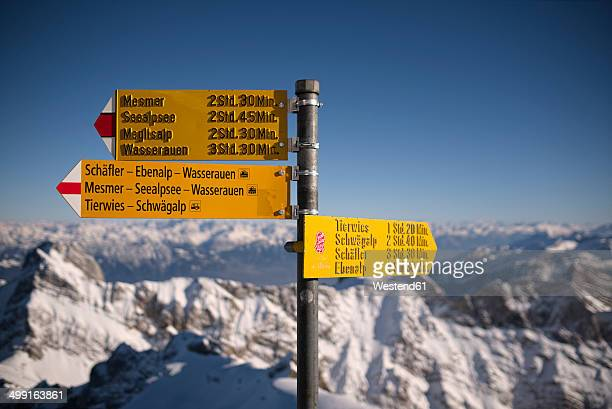 Switzerland, Canton of Appenzell Ausserrhoden, signpost at Saentis mountain
