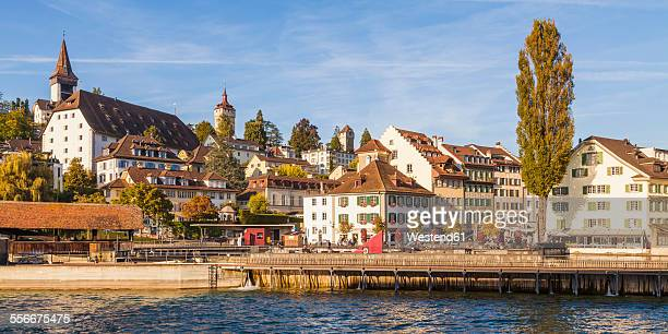Switzerland, Canton of Lucerne, Lucerne, Old town, Musegg wall and Musegg towers, needle dam