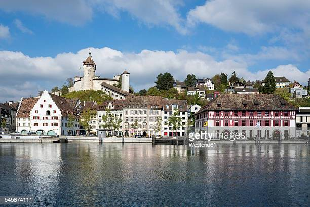 Switzerland, Canton of Schaffhausen, View of Old town with Munot Castle, High Rhine river