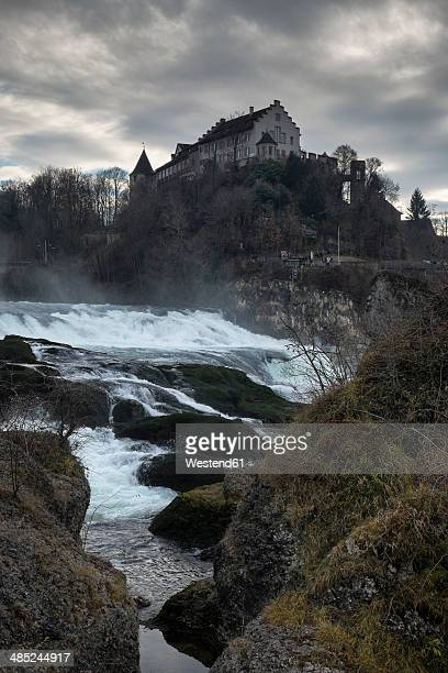 Switzerland, Canton of Schaffhausen, View of Rhine Falls with Laufen Castle