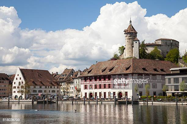 Switzerland, Canton of Schaffhausen, View of Schaffhausen with Munot Castle, High Rhine river
