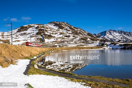 Switzerland, Canton of Uri, Lake Oberalpsee and Glacier Express