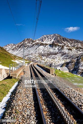 Switzerland, Canton of Uri, Railway track at Oberalp Pass