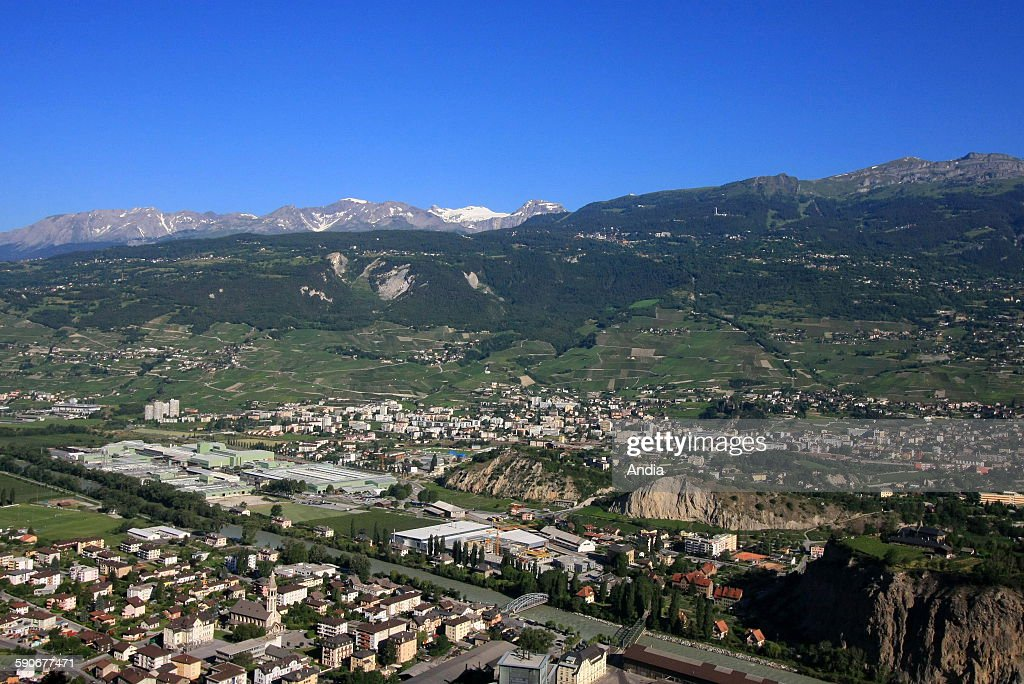 Canton of Valais General view of the village of Sierre in summer in the Val d'Anniviers vines everlasting snows Frenchspeaking Switzerland
