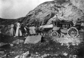 stagecoach on the road across the Simplon pass that connects Switzerland and Italy probably in the 1910s