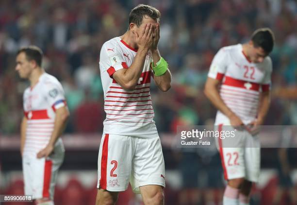 Switzerland defender Stephan Lichtsteiner reaction at the end of the FIFA 2018 World Cup Qualifier match between Portugal and Switzerland at Estadio...