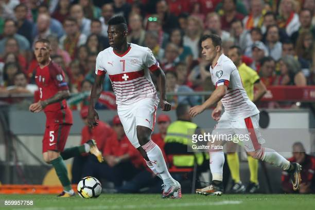 Switzerland forward Breel Embolo in action during the FIFA 2018 World Cup Qualifier match between Portugal and Switzerland at Estadio da Luz on...