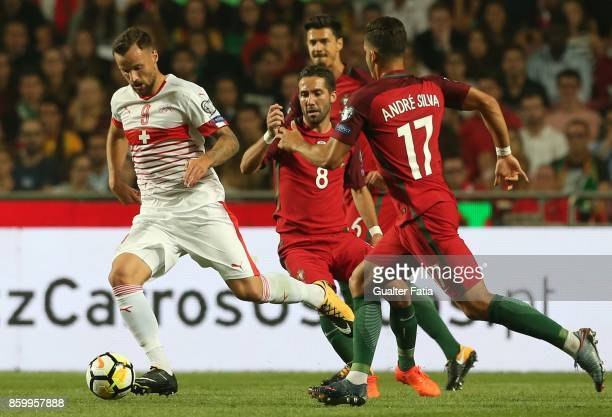 Switzerland forward Haris Seferovic in action during the FIFA 2018 World Cup Qualifier match between Portugal and Switzerland at Estadio da Luz on...