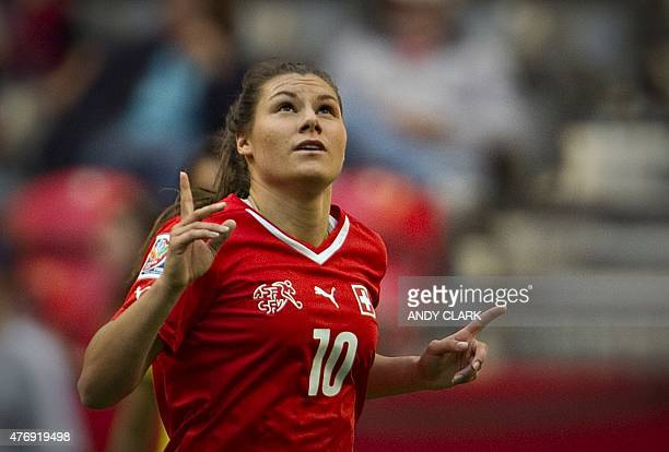 Switzerland forward Ramona Bachmann reacts after scoring her second goal during a Group C football match between Switzerland and Ecuador at BC Place...