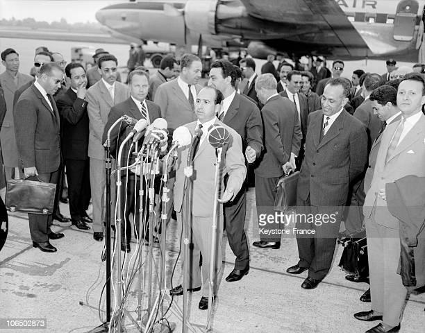 Switzerland Geneva Algerian Fln Delegation Arriving With Krim Belkacem
