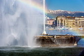 Switzerland, Geneva, fountain of the Jet dEau at Lake Geneva