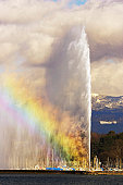 Switzerland, Geneva, Lake Geneva and fountain