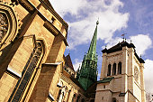 Switzerland, Geneva, Saint Pierre Cathedral, low angle view