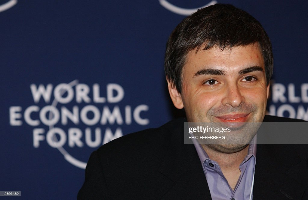 Google Co-Founder and President <a gi-track='captionPersonalityLinkClicked' href=/galleries/search?phrase=Larry+Page&family=editorial&specificpeople=753550 ng-click='$event.stopPropagation()'>Larry Page</a> smiles during the 'An Open Source Model for Creating Value' conference, 24 January 2004 at the World Economic Forum (WEF) in Davos. AFP PHOTO Eric FEFERBERG