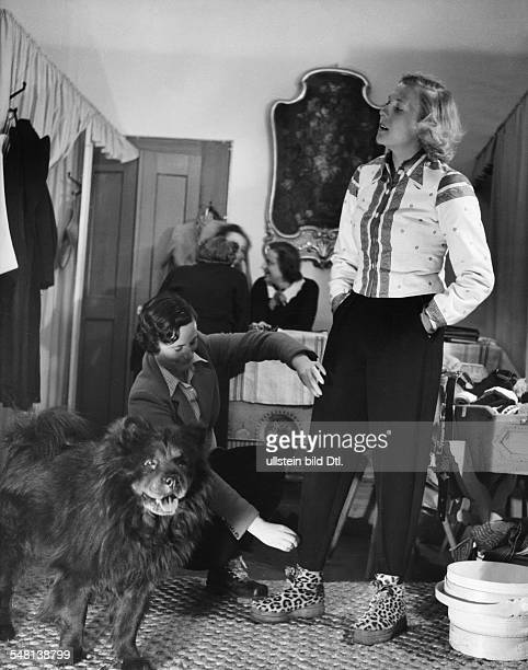 Switzerland Graubuenden Trying on apresski attire by Picard in St Moritz 1938 Photographer Regine Relang Published by 'Die Dame' 26/1938 Vintage...