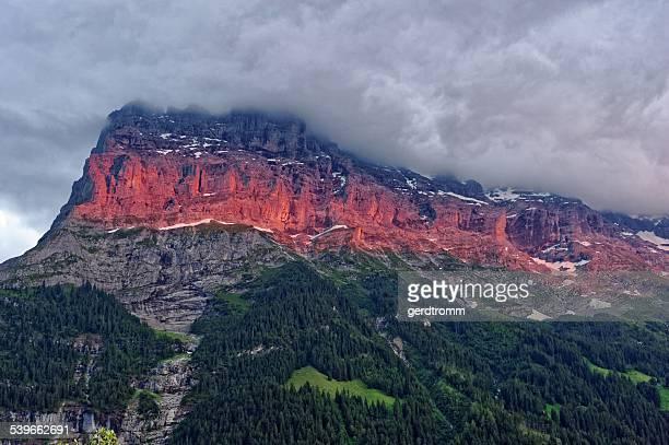 Switzerland, Grindelwald, Alpenglow at Eiger