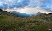 Switzerland, Grisons, Bernina Pass, View towards Poschiavo Valley
