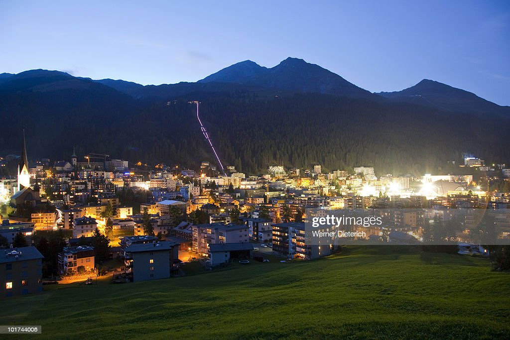 Switzerland, Grisons, Davos in the evening