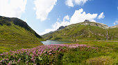 Switzerland, Grisons, Lake Oberalpsee and Oberalp Pass