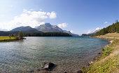 Switzerland, Grisons, Lake Sils with Piz da la Margna in background