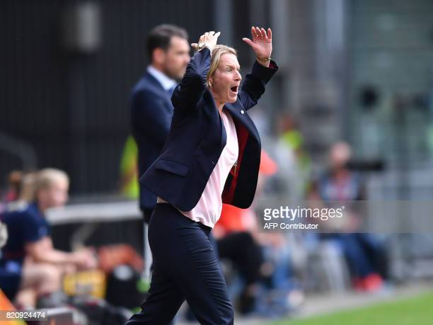 Switzerland head coach Coach Martina VossTecklenburg gives instructions during the UEFA Womens Euro 2017 football tournament match between Iceland...