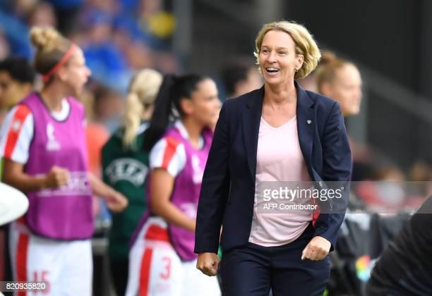 Switzerland head coach Coach Martina VossTecklenburg walks during the UEFA Womens Euro 2017 football tournament match between Iceland and Switzerland...