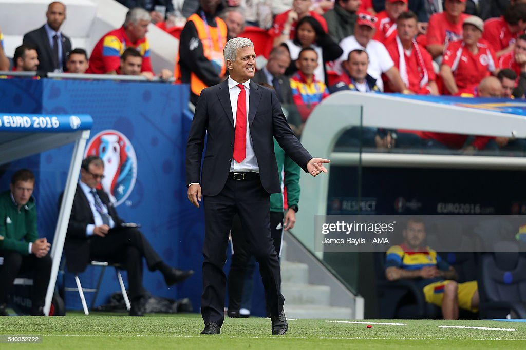 Switzerland Head Coach / Manager Vladimir Petkovic reacts during the UEFA EURO 2016 Group A match between Romania and Switzerland at Parc des Princes on June 15, 2016 in Paris, France.