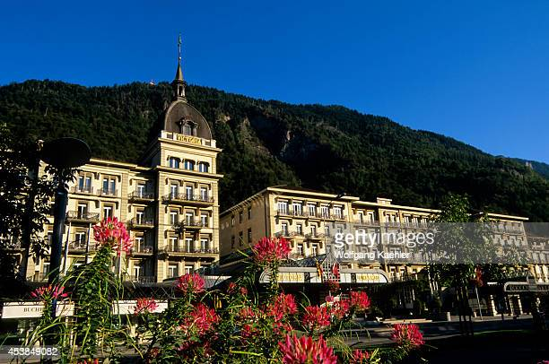 Switzerland Interlaken Grand Hotel Victoria Jungfrau Flowers In Foreground
