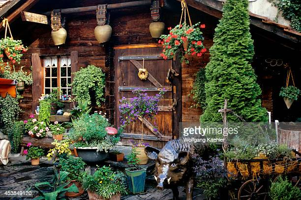 Switzerland Interlaken Street Scene With Wooden House