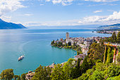 Switzerland, Lake Geneva, Montreux, cityscape with paddlesteamer