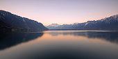 Peaceful moment at Geneva Lake of Montreux before sunrise