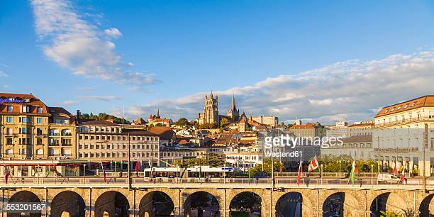 Switzerland, Lausanne, cityscape with bridge Grand-Pont and cathedral Notre-Dame
