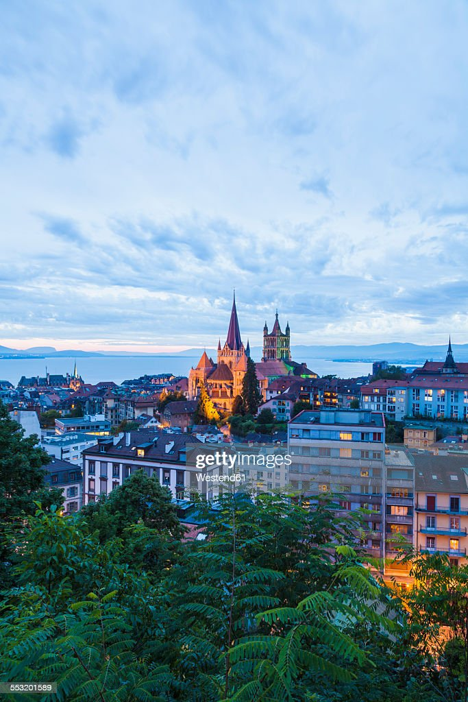 Switzerland, Lausanne, cityscape with cathedral Notre-Dame at dusk