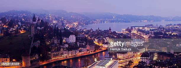 Switzerland, Lucerne, Old town at night