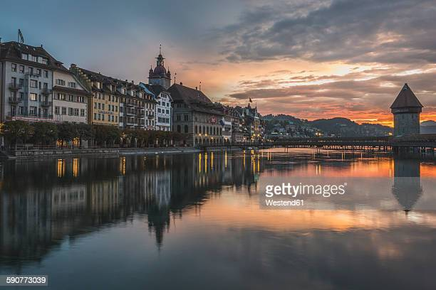 Switzerland, Lucerne, Old town, Chapel bridge at sunset