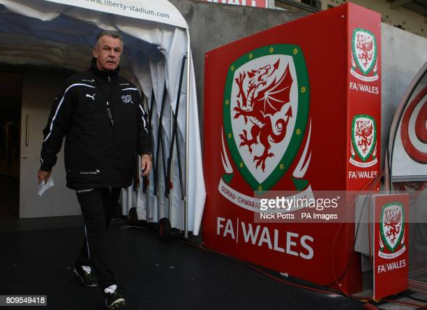 Switzerland manager Ottmar Hitzfeld during a training session at the Liberty Stadium Swansea