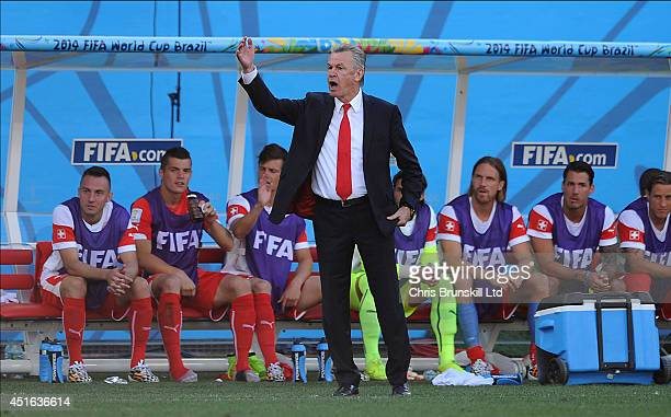 Switzerland manager Ottmar Hitzfeld gestures from the touchline during the 2014 FIFA World Cup Brazil Round of 16 match between Argentina and...