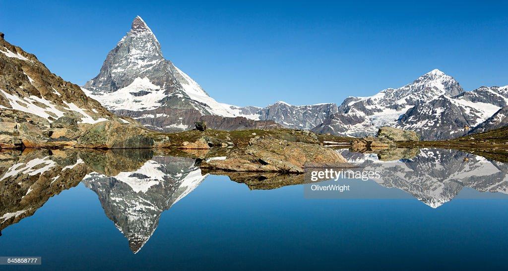 Switzerland, Matterhorn reflected in Riffelsee Lake