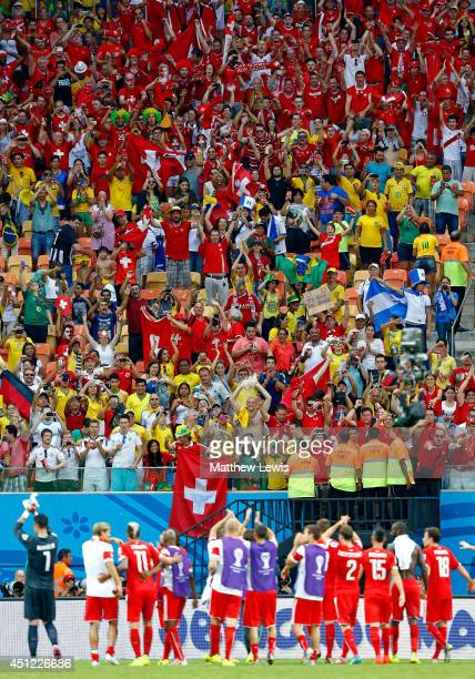 Switzerland players acknowledge the fans after a 30 victory over Honduras in the 2014 FIFA World Cup Brazil Group E match between Honduras and...
