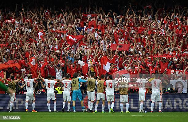 Switzerland players celebrate their 10 win in the UEFA EURO 2016 Group A match between Albania and Switzerland at Stade BollaertDelelis on June 11...