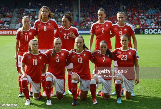 Switzerland players pose for a photograph prior to the the UEFA Womens Euro 2017 football tournament match between Iceland and Switzerland at Stadion...