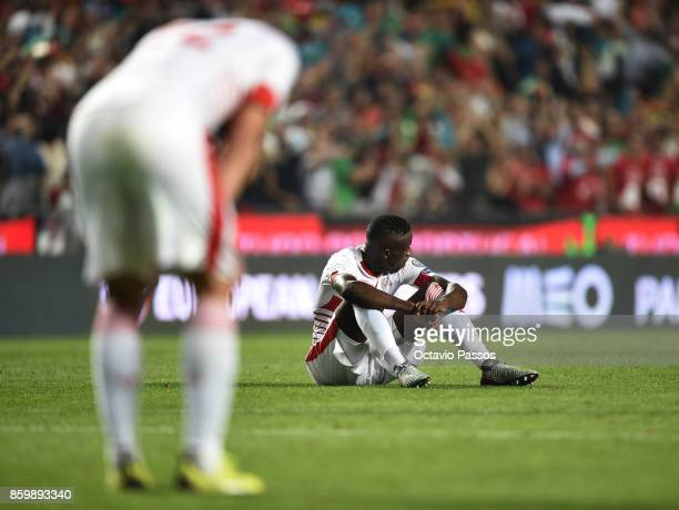 Switzerland players react after they lost the game at the end of the FIFA 2018 World Cup Qualifier between Portugal and Switzerland at the Luz...
