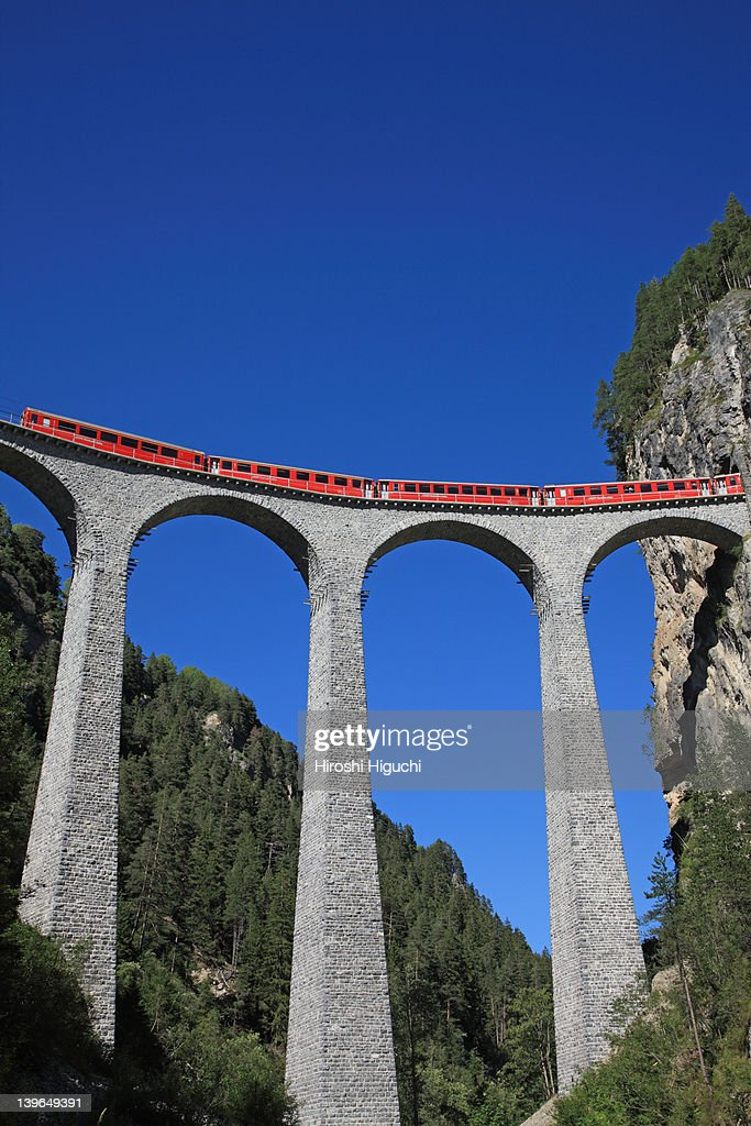 Switzerland, Rhaetian Railway in the  Albula : Stock Photo