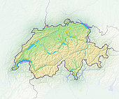 Switzerland, shaded relief map