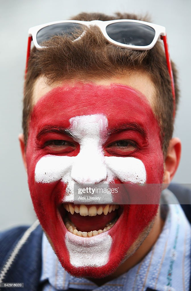 A Switzerland supporter is seen prior to the UEFA EURO 2016 round of 16 match between Switzerland and Poland at Stade Geoffroy-Guichard on June 25, 2016 in Saint-Etienne, France.