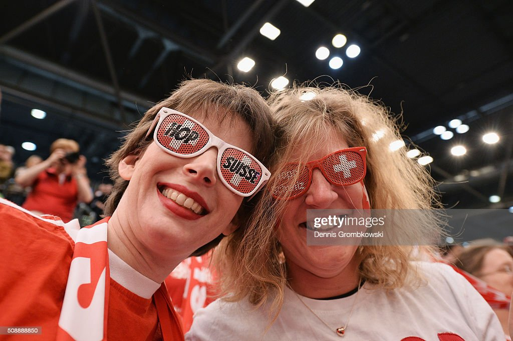 Switzerland supporters are seen on Day 2 of the 2016 FedCup World Group Round 1 match between Germany and Switzerland at Messe Leipzig on February 7, 2016 in Leipzig, Germany.
