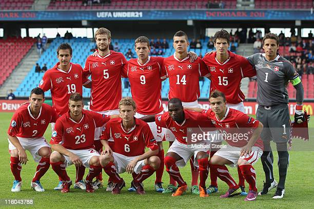 Switzerland team group during the UEFA European Under21 Championship Group A match between Switzerland and Iceland at the Aalborg Stadium on June 14...