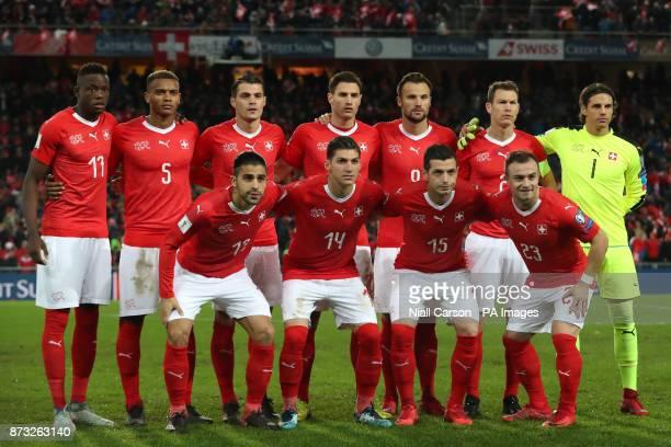 Switzerland team group Switzerland's Denis Zakaria Manuel Akanji Granit Xhaka Fabian Schar Haris Seferovic Stephan Lichtsteiner and Yann Sommer...