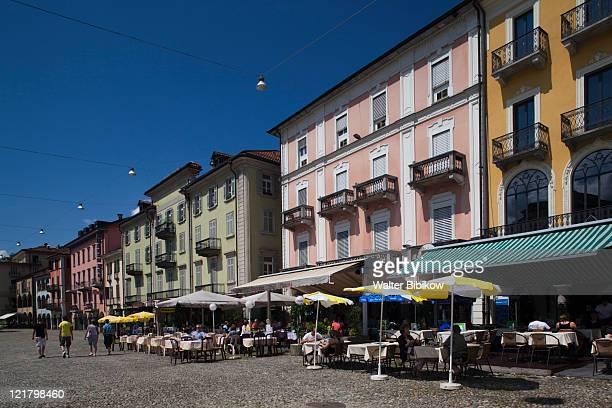 Switzerland, Ticino, Lake Maggiore, Locarno, buildings on Piazza Grande