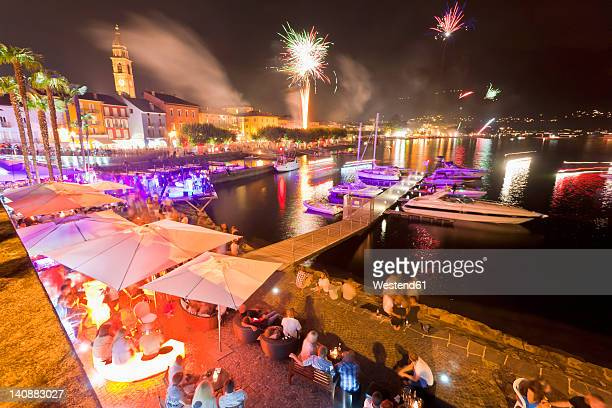 Switzerland, Ticino, People celebrating Swiss national day